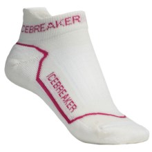 Icebreaker Run Lite Micro Socks - Merino Wool, Below-the-Ankle (For Women) in White/Lobster/White - 2nds