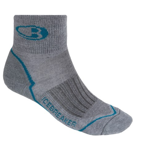 Icebreaker Run Lite Mini Socks - Merino Wool, Quarter-Crew (For Men and Women) in Twister Heather/Cruise/Twister Heather