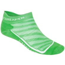 Icebreaker Run Ultralite Micro Socks - Merino Wool, Below-the-Ankle (For Men) in Turf/White - 2nds