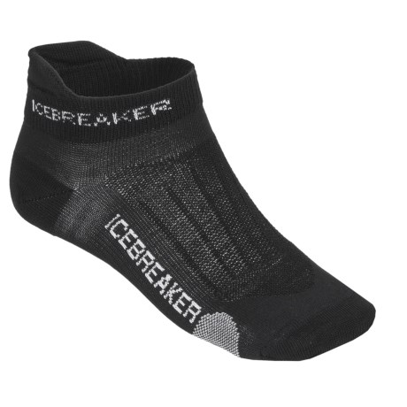 Icebreaker Run Ultralite Micro Socks - Merino Wool, Below-the-Ankle (For Women) in Black/Pearl/Black
