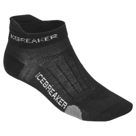 Icebreaker Run Ultralite Micro Socks - Merino Wool (For Men) in Black/Pearl/Black