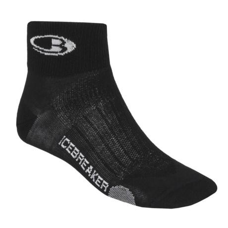 Icebreaker Run Ultralite Mini Socks - Merino Wool, Quarter-Crew (For Men) in Black/Pearl/Black