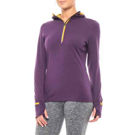 Icebreaker Rush Zip Neck Hoodie - Merino Wool, Long Sleeve (For Women) in Eggplant/Sulfur - Closeouts