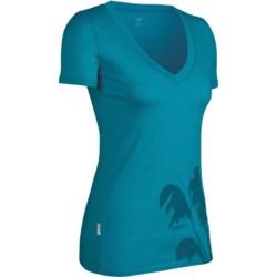 Icebreaker SF150 Tech Toi Toi Shirt - Merino Wool, V-Neck, Short Sleeve (For Women) in Metro