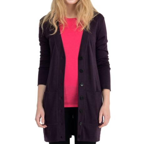 Icebreaker SF200 Cruise Cardigan Sweater - UPF 50+, Merino Wool (For Women) in Bordeaux