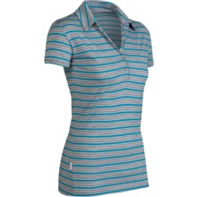 Icebreaker SF200 Stripe Tech Polo Shirt - Merino Wool, Short Sleeve (For Women) in Gulf Stripe - Closeouts