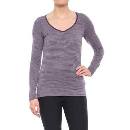 Icebreaker Siren Sweetheart Base Layer Top - Merino Wool, Long Sleeve (For Women) in Eggplant/Silk Heather/Stripe - Closeouts