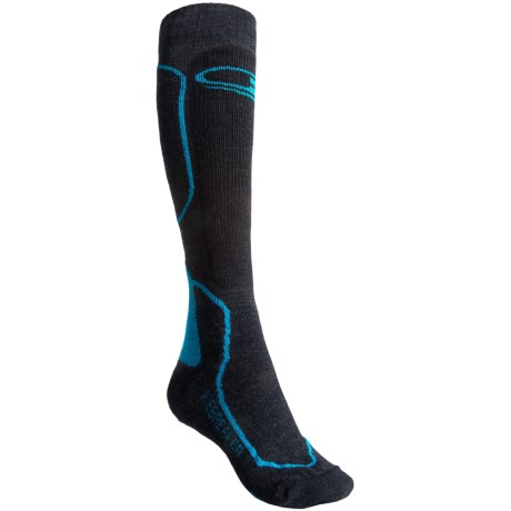 Icebreaker Ski + Mid Socks - Merino Wool, Over-the-Calf (For Women) in Jet/Black/Gulf