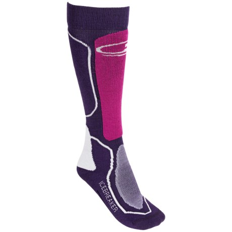 Icebreaker Ski + Mid Socks - Merino Wool, Over-the-Calf (For Women) in Lotus/Pearl