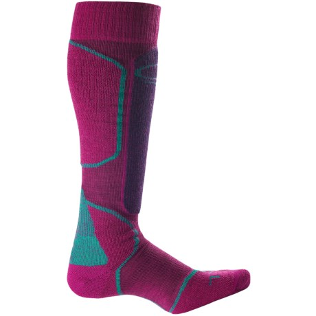 Icebreaker Ski + Mid Socks - Merino Wool, Over-the-Calf (For Women) in Magenta/Lotus/Mermaid