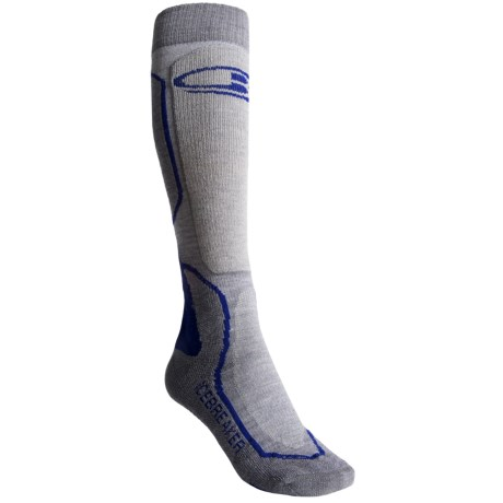 Icebreaker Ski + Mid Socks - Merino Wool, Over-the-Calf (For Women) in Twister/Silver