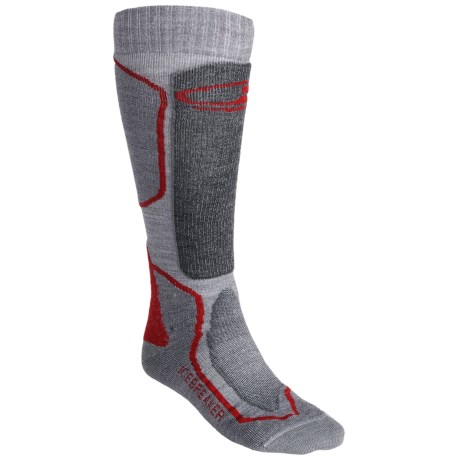 Icebreaker Ski Mid Socks - Merino Wool, Over-the-Calf, Midweight (For Men) in Grey/Dark Grey Heather