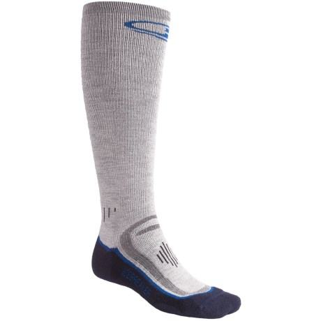 Icebreaker Ski Mid Socks - Merino Wool, Over-the-Calf, Midweight (For Men) in Light Grey/Navy