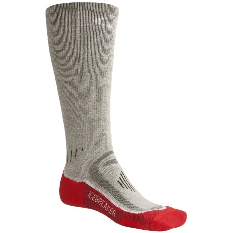 Icebreaker Ski Mid Socks - Merino Wool, Over-the-Calf, Midweight (For Men) in Silver/White/Salsa