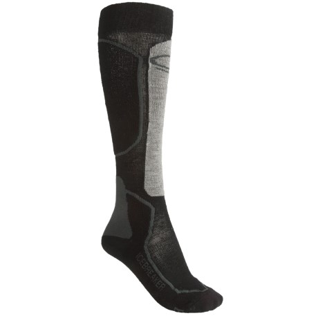 Icebreaker Ski Midweight Socks - Merino Wool, Over-the-Calf (For Women) in Black/Grey