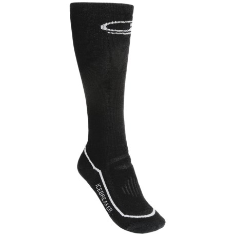 Icebreaker Ski Midweight Socks - Merino Wool, Over-the-Calf (For Women) in Black/White/Black