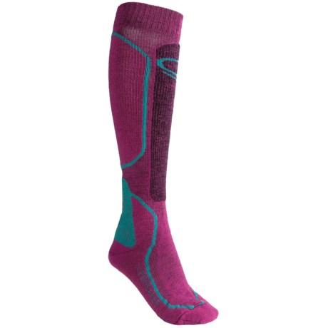 Icebreaker Ski Midweight Socks - Merino Wool, Over-the-Calf (For Women) in Black/White/Black