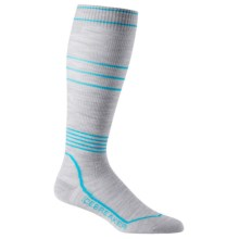 Icebreaker Ski+ Compression Ultralite Socks - Merino Wool, Over the Calf (For Women) in Blizzard Heather/Glacier - Closeouts