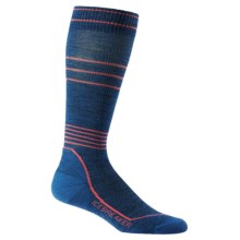 Icebreaker Ski+ Light Compression Socks - Merino Wool, Over the Calf (For Women) in Equinox Heather/Azalea - Closeouts