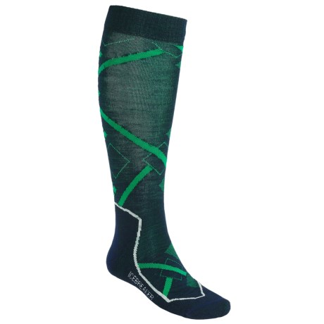 Icebreaker Ski+ Lite Socks - Merino Wool, Over-the-Calf (For Men and Women) in Ink Heli Print