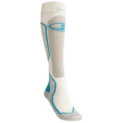 Icebreaker Ski+ Lite Socks - Merino Wool, Over-the-Calf (For Women) in White/Cruise/Teadrop