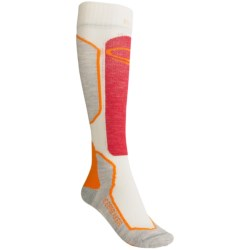 Icebreaker Ski+ Lite Socks - Merino Wool, Over-the-Calf (For Women) in Blizzard/Mandarin