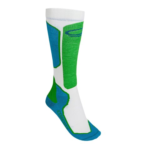 Icebreaker Ski+ Lite Socks - Merino Wool, Over-the-Calf (For Women) in Cruise/White/Turf