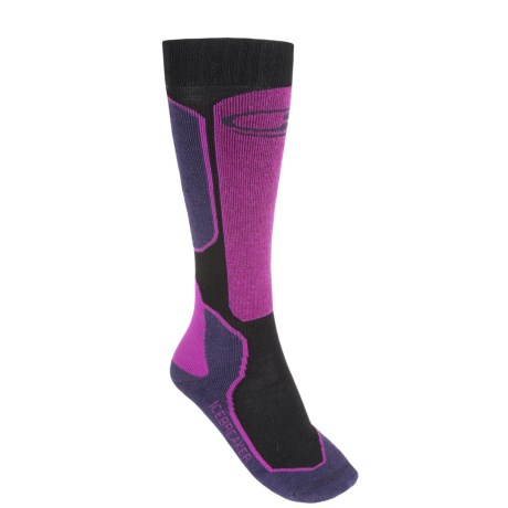 Icebreaker Ski+ Lite Socks - Merino Wool, Over-the-Calf (For Women) in Lotus/Black/Magenta