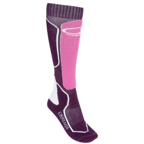 Icebreaker Ski+ Lite Socks - Merino Wool, Over-the-Calf (For Women) in Lotus/Pink/White