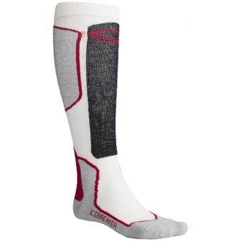 Icebreaker Ski+ Lite Socks - Merino Wool, Over-the-Calf, Lightweight (For Men) in Blizzard/Red