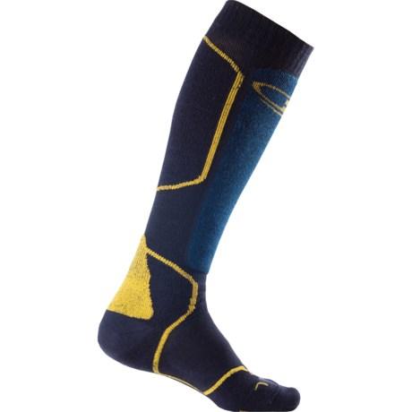 Icebreaker Ski+ Mid Socks - Merino Wool, Over-the-Calf (For Men) in Admiral/Largo/Harvest