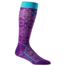 Icebreaker Ski+ Ultralight Mountain Icon Socks - Merino Wool, Over the Calf (For Women) in Emperor/White/Aquamarine - Closeouts