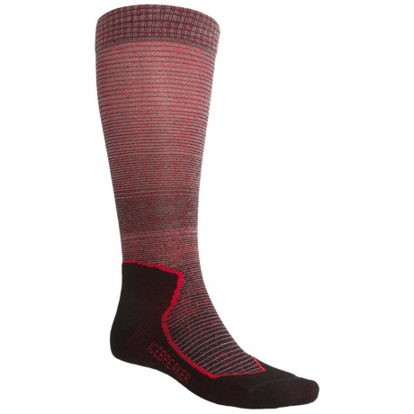 Icebreaker Ski+Lite Gradient Socks - Merino Wool, Over-the-Calf (For Men and Women) in Black/Twister