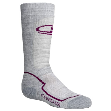 Icebreaker Snow Kids Midweight Socks - Merino Wool, Over-the-Calf (For Kids) in Blizzard/Cranberry/Bone