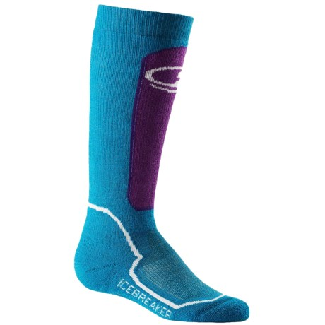 Icebreaker Snow Kids Midweight Socks - Merino Wool, Over-the-Calf (For Kids) in Cruise/Emperor/White
