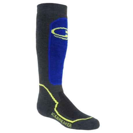 Icebreaker Snow Kids Midweight Socks - Merino Wool, Over-the-Calf (For Kids) in Monsoon/Cadet/Volt