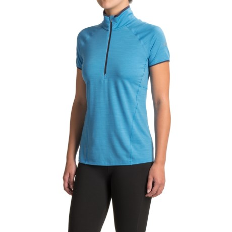 Icebreaker Spark Shirt - Merino Wool, Zip Neck, Short Sleeve (For Women) in Cyan/Cyan/Panther