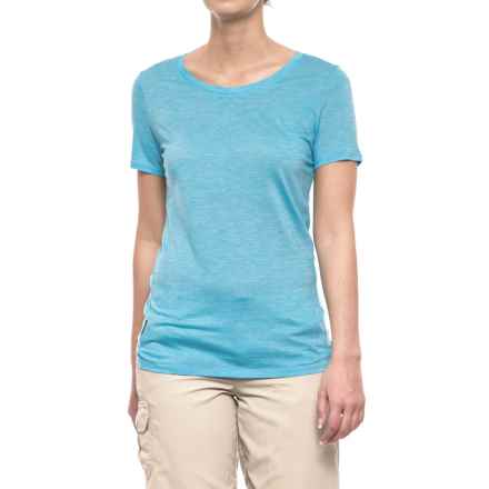 Icebreaker Sphere CoolLite® Crew T-Shirt - Merino Wool, Short Sleeve (For Women) in Capri/Snow/Stripe - Closeouts