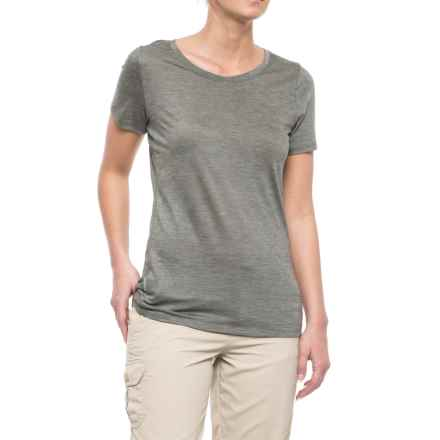 Icebreaker Sphere CoolLite® Crew T-Shirt - Merino Wool, Short Sleeve (For Women) in Kona/Snow/Stripe - Closeouts