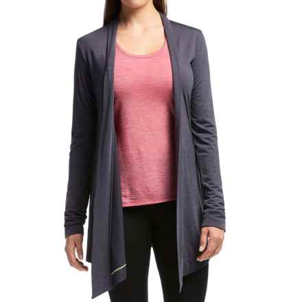 Icebreaker Sphere Wrap Cardigan Sweater - UPF 30+, Merino Wool (For Women) in Panther Heather - Closeouts