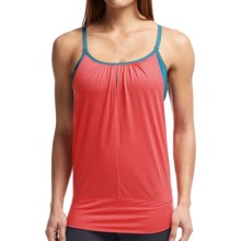 Icebreaker Spirit Tank Top - Merino Wool, UPF 40+, Built-In Bra (For Women) in Grapefruit/Shore/Chartreuse - Closeouts