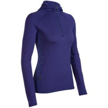 Icebreaker Sport LTD 320 Cornice Shirt - Merino Wool, Hooded, Zip Neck (For Women) in Horizon/Mystic - Closeouts