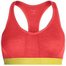 Icebreaker Sprite Racerback Sports Bra - Low Impact, Merino Wool (For Women) in Grapefruit/Chartreuse/Chartreuse - Closeouts