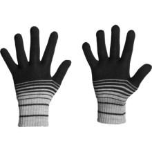 Icebreaker Stripe 320 Gloves - Merino Wool (For Men and Women) in Black - Closeouts