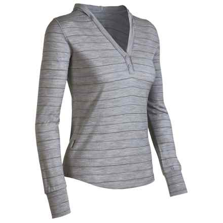 Icebreaker Superfine 200 Bliss Hooded Shirt - Merino Wool, Long Sleeve (For Women) in Blizzard Stripe - Closeouts