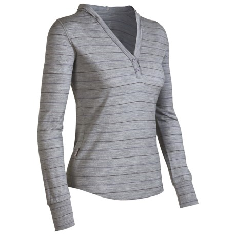 Icebreaker Superfine 200 Bliss Hooded Shirt - Merino Wool, Long Sleeve (For Women) in Metro/Blizzard