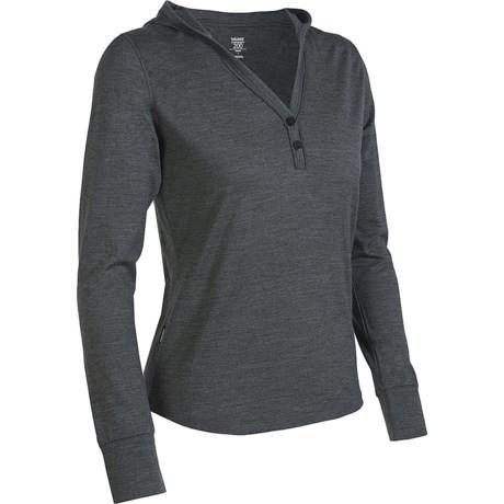 Icebreaker Superfine 200 Bliss Hooded Shirt - Merino Wool, Long Sleeve (For Women) in Metro/Blizzard