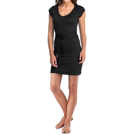 Icebreaker Superfine 200 Villa Dress - Merino Wool, V-Neck, Short Sleeve (For Women) in Black