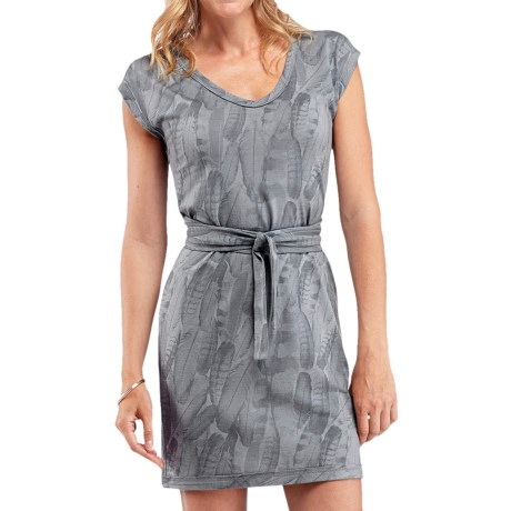 Icebreaker Superfine 200 Villa Dress - Merino Wool, V-Neck, Short Sleeve (For Women) in Mineral Plume Print
