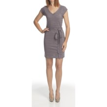 Icebreaker Superfine 200 Villa Dress - Merino Wool, V-Neck, Short Sleeves (For Women) in Evening Stripe - Closeouts